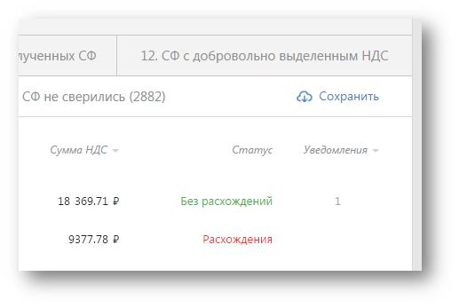 Сохранение списка счетов-фактур