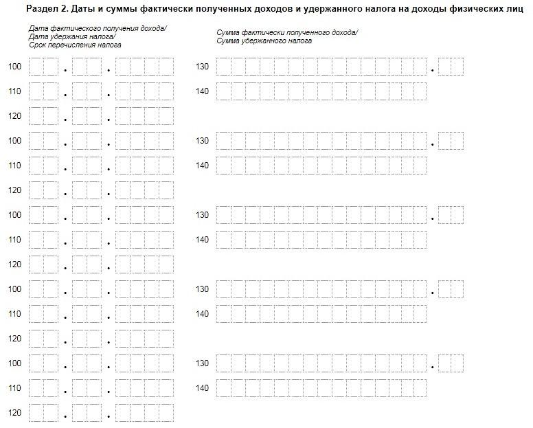 Раздел 2 расчета 6-НДФЛ