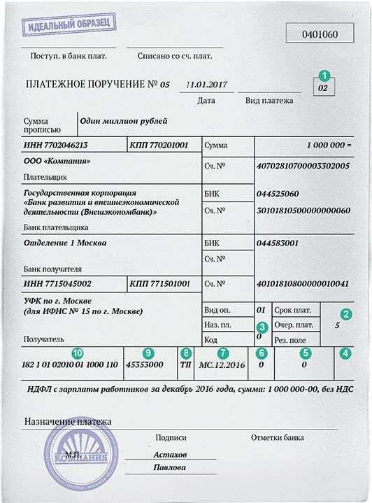 Платежное поручение на уплату НДФЛ