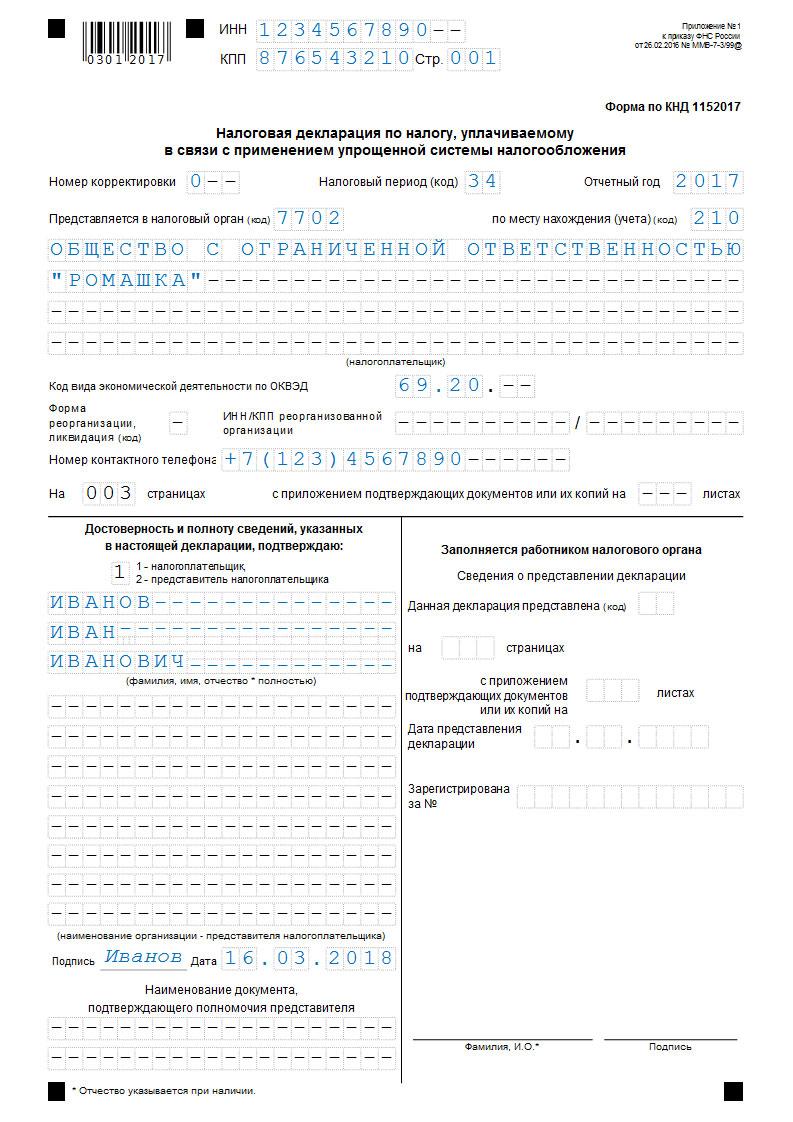 Декларация по УСН (д - р), титул