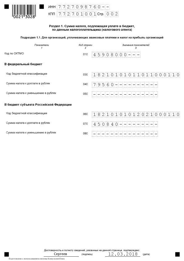 Декларация по налогу на прибыль, подраздел 1.1