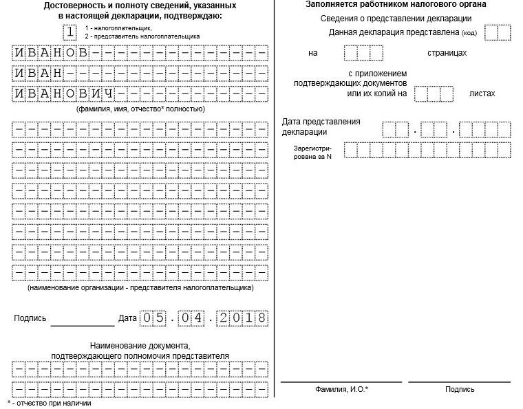 Образей заполнения титула декларации по ЕНВД, продолжение