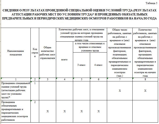 Таблица 5 формы 4-ФСС