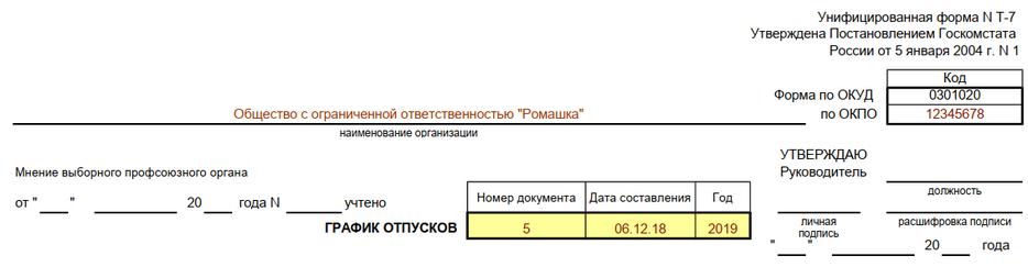 Номер документа, дата и период действия графика