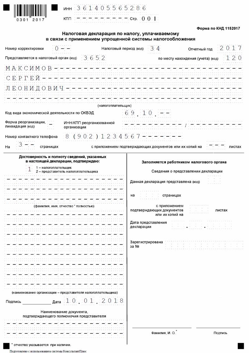 Декларация по УСН, титульный лист