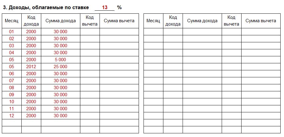 Пример заполнения раздела 3
