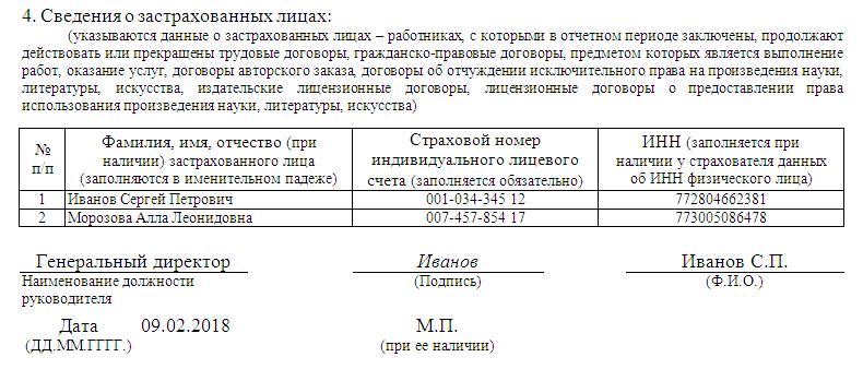 СЗВ-М, раздел 4