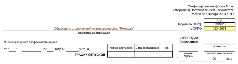 Указание ОКПО