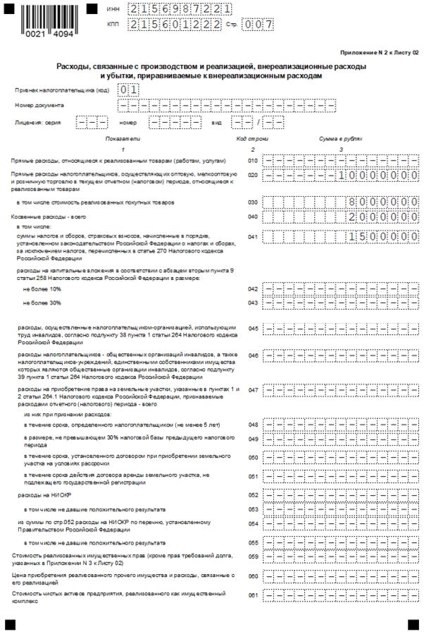 Декларация по налогу на прибыль, приложение 2 к листу 02