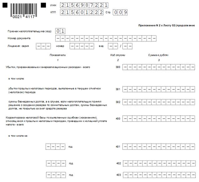 Декларация по налогу на прибыль, приложение 2 к листу 02 (продолжение 300-400)