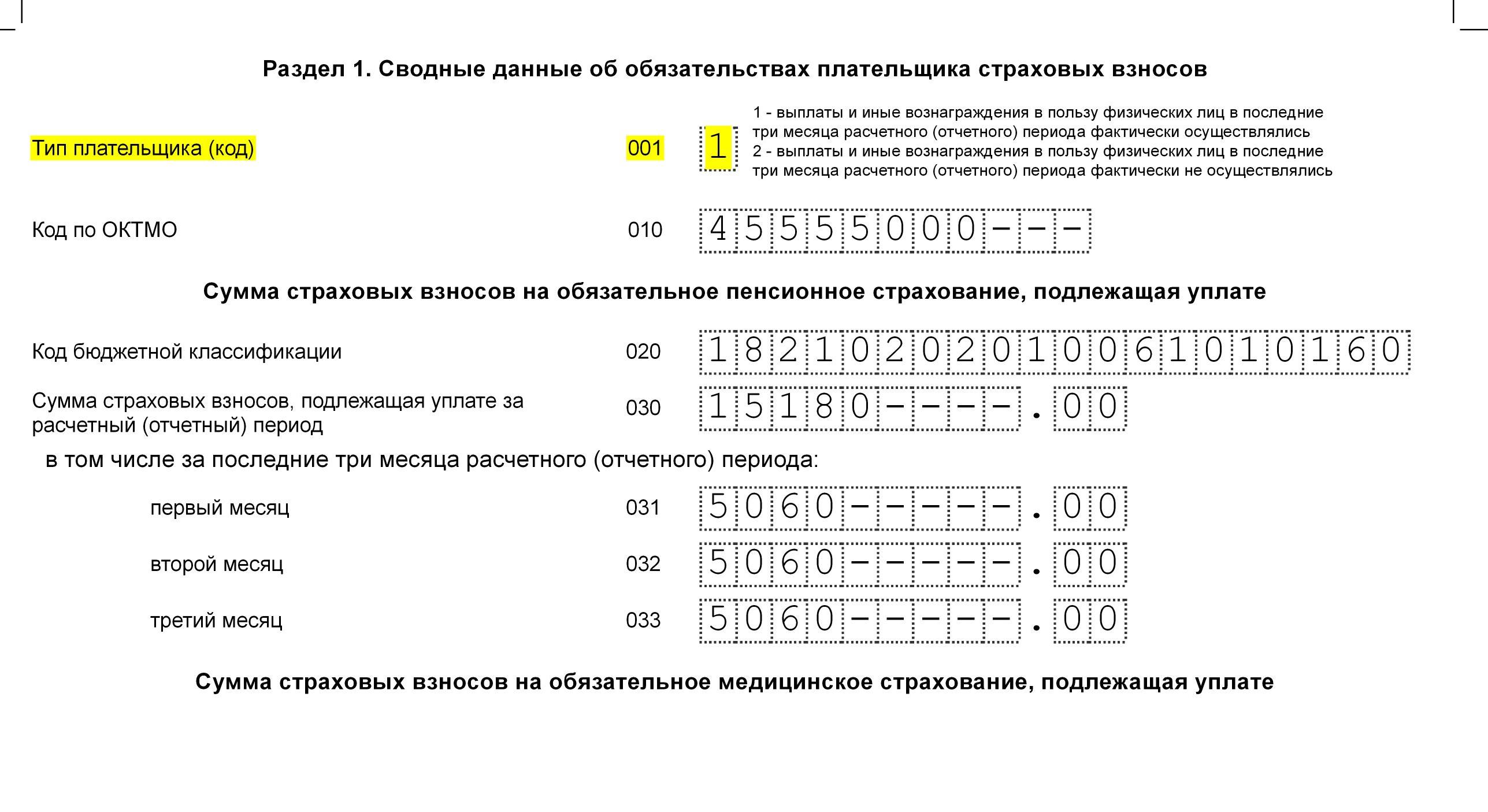 Форма РСВ Раздел 1