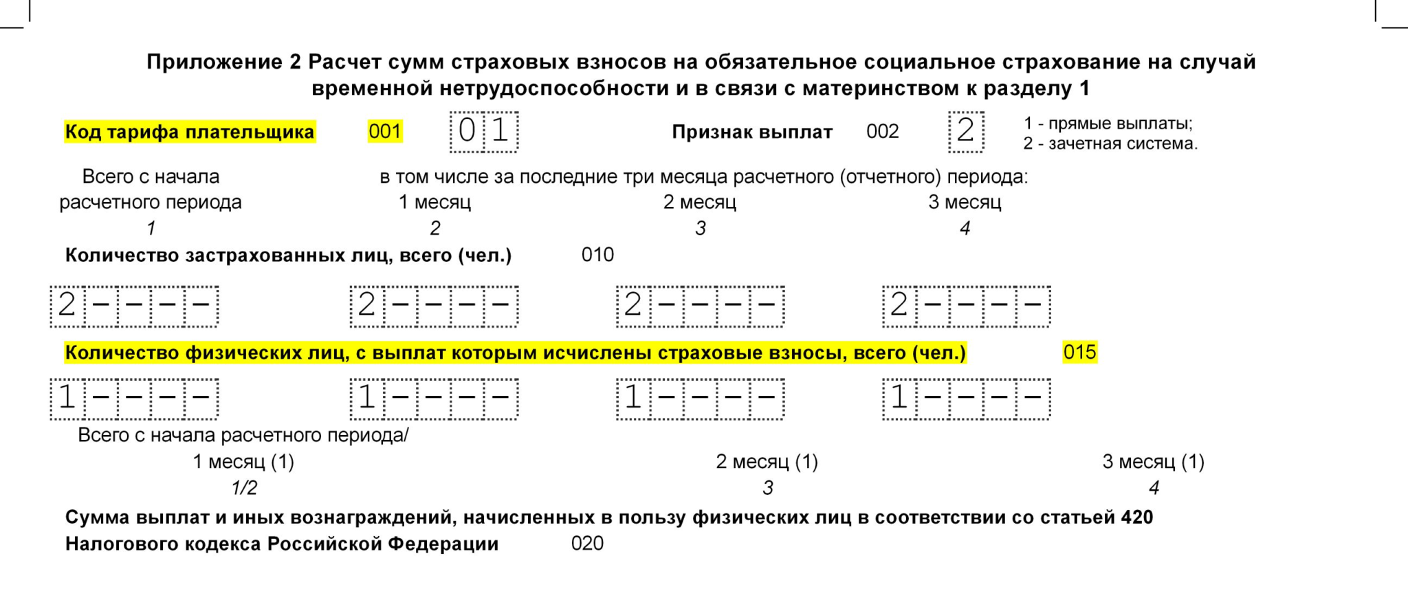 Форма РСВ Раздел 1 Приложение 2