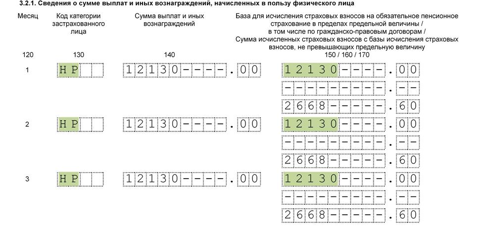 раздел 3 подраздел 3.2.1 с кодам НС