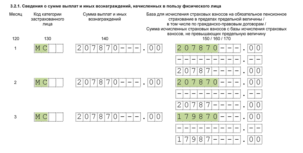 раздел 3 подраздел 3.2.1 с кодам МС