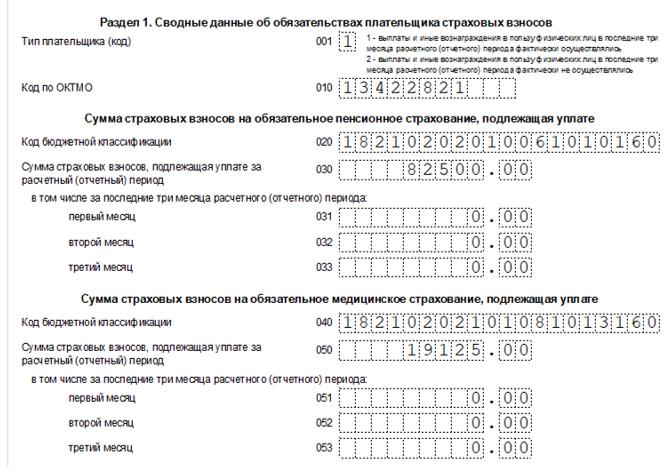 Раздел 1. Сводные данные об обязательствах плательщика страховых взносов
