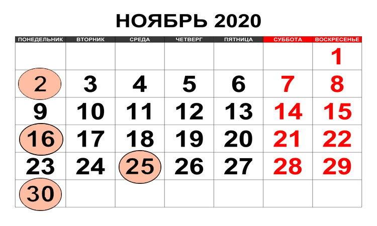Календарь бухгалтера ноябрь