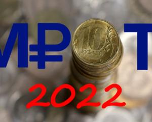 Размер МРОТ 2022 года